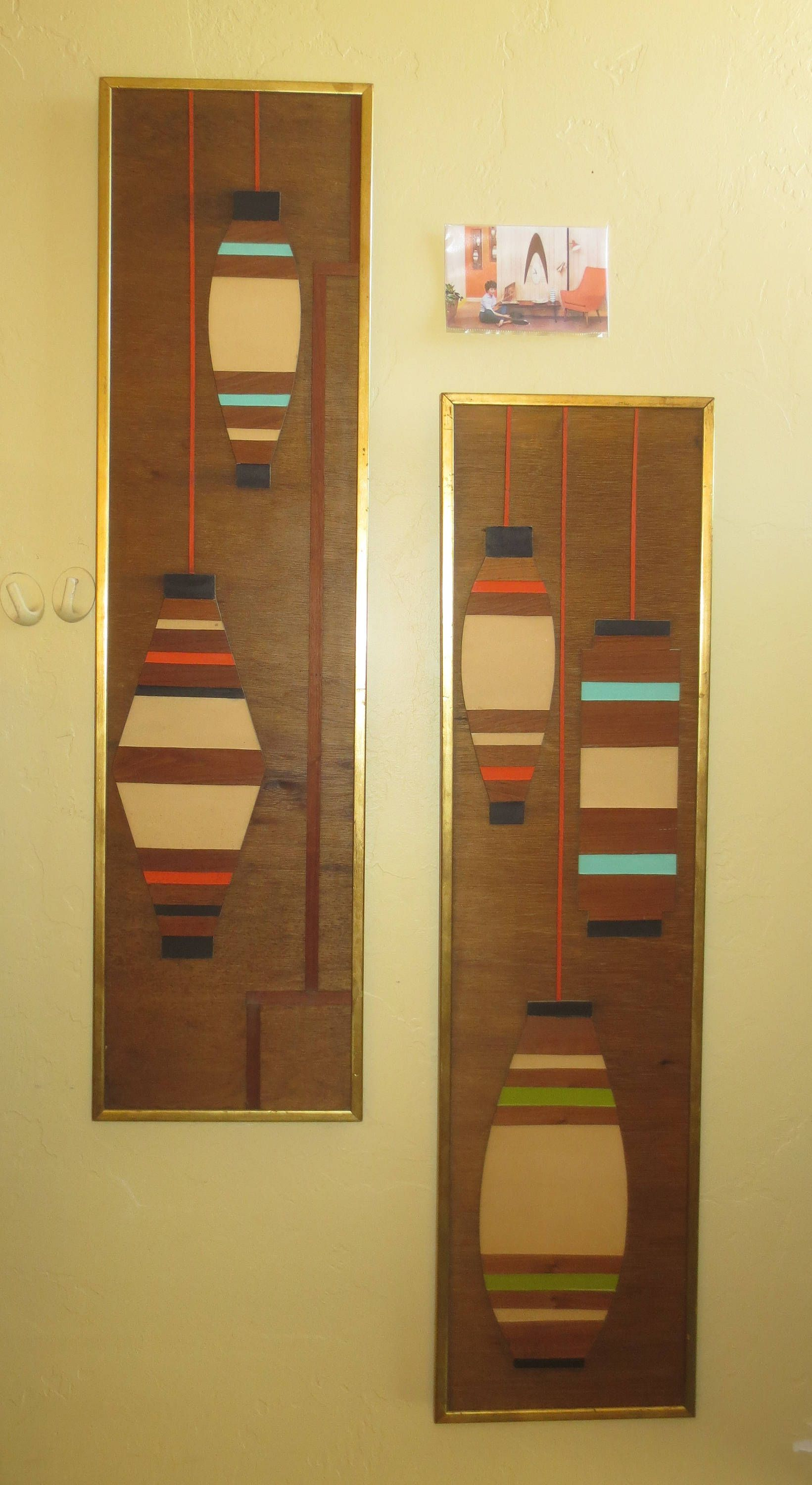 Wood Inlay Wall Plaques Signed \