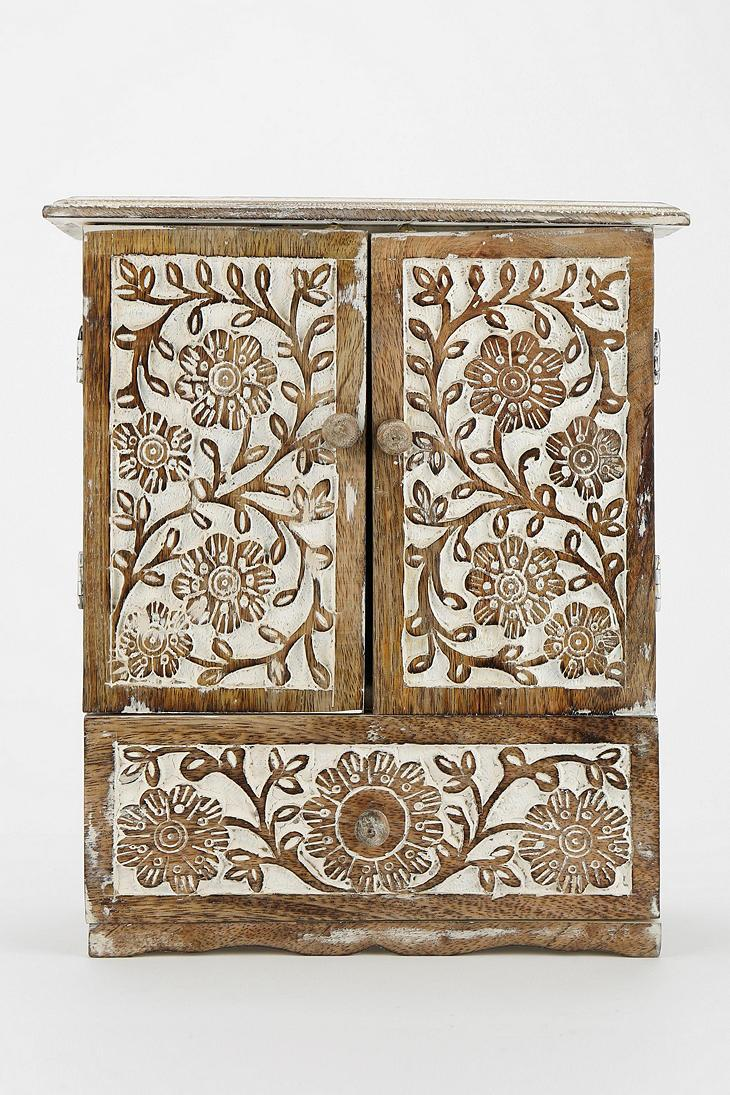 Carved wood jewelry cabinet urbanoutfitters rooms u buildings