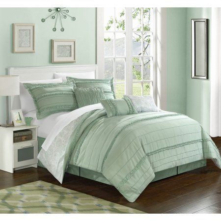 Chic Home 11 Piece Maeve Pleated and Ruffled Reversible Paisely Floral Print King Bed In a Bag Comforter Set Green With sheet set