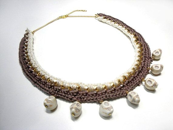 Crochet necklace in taupe and cream with skulls