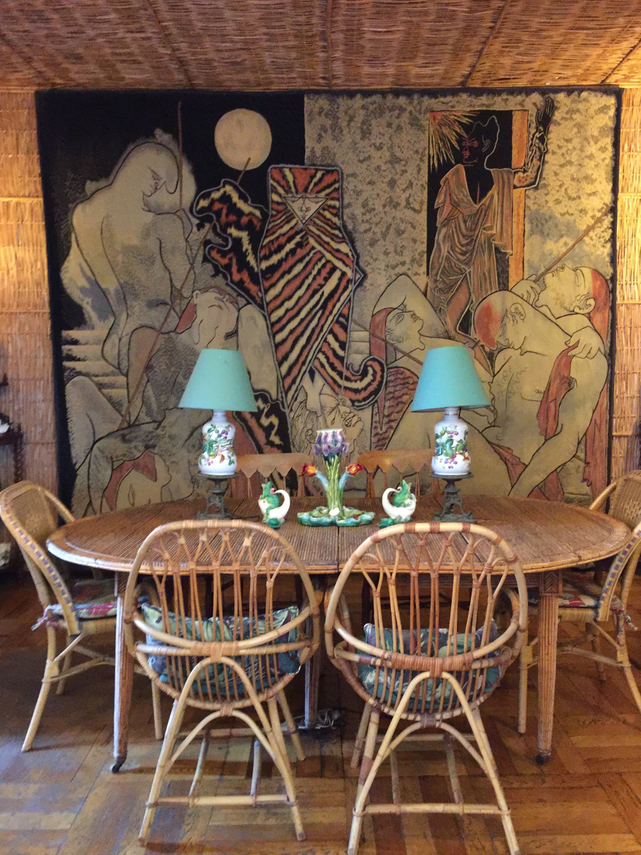Villa Santo Sospir by Madeleine Castaing with Jean Cocteau Tapestry