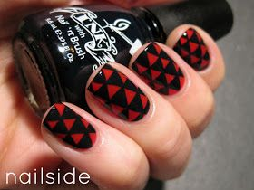 Black and red triangle nail art
