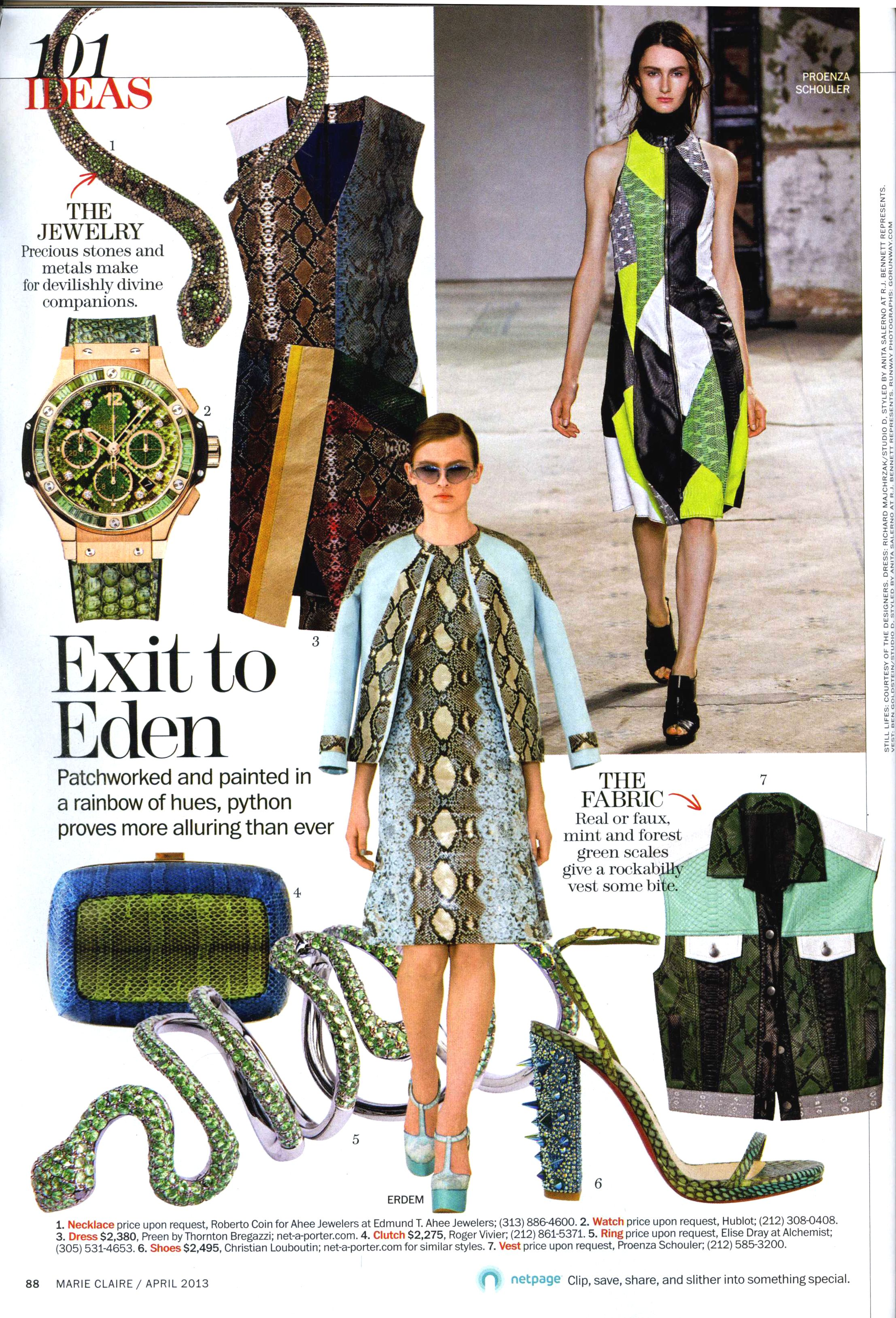Roberto Coin for Edmund T. Ahee Jewelers Limited Edition Cobra Neckalce featured in the April issue of Marie Claire.
