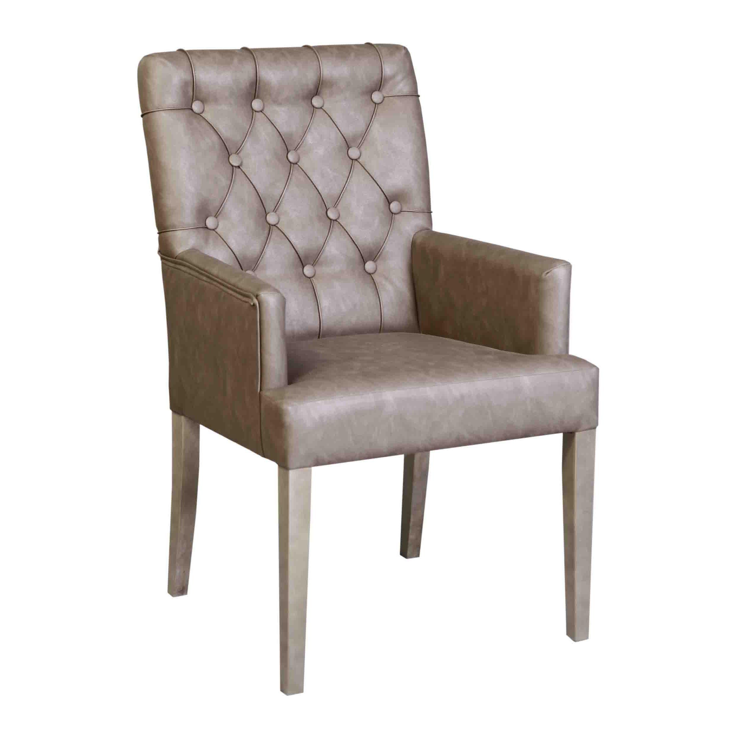Eetkamerstoel in kunststof vintage leer door de for Eetkamerstoel fauteuil