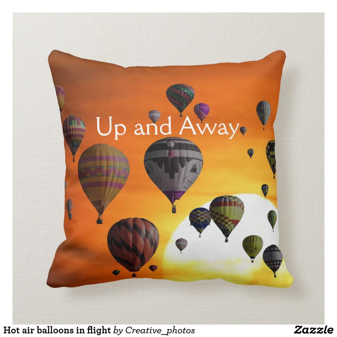 Hot air balloons in flight throw pillow