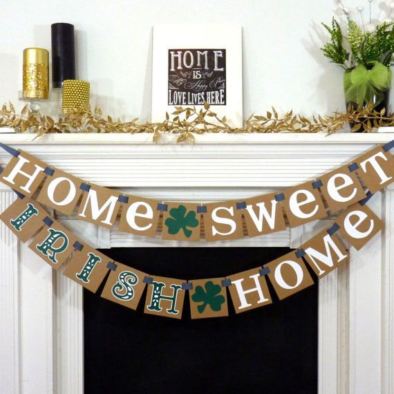 Love this!! This READY TO SHIP Banner is created with KRAFT thick chipboard Panels and WHITE cardstock Letters (Irish word-- Forest Green & White Shadow