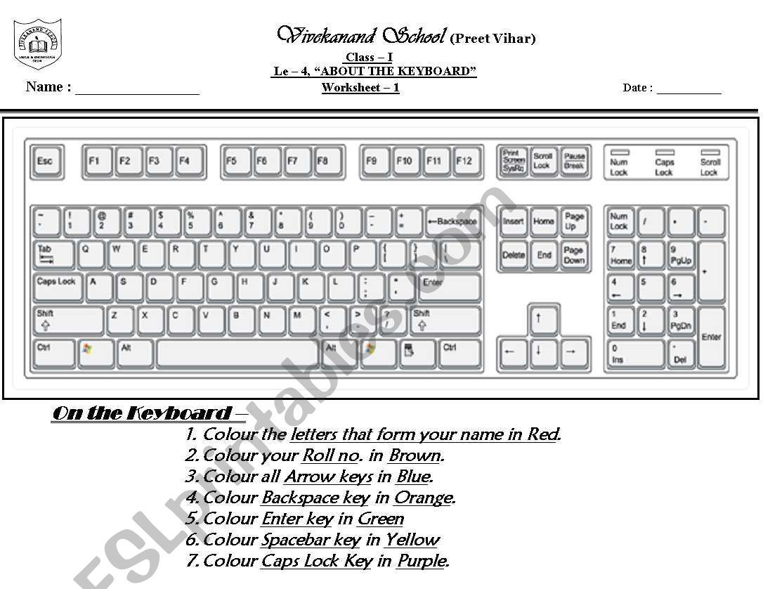 It Is A Worksheet To Colour The Keyboard Keys Keyboard Coding