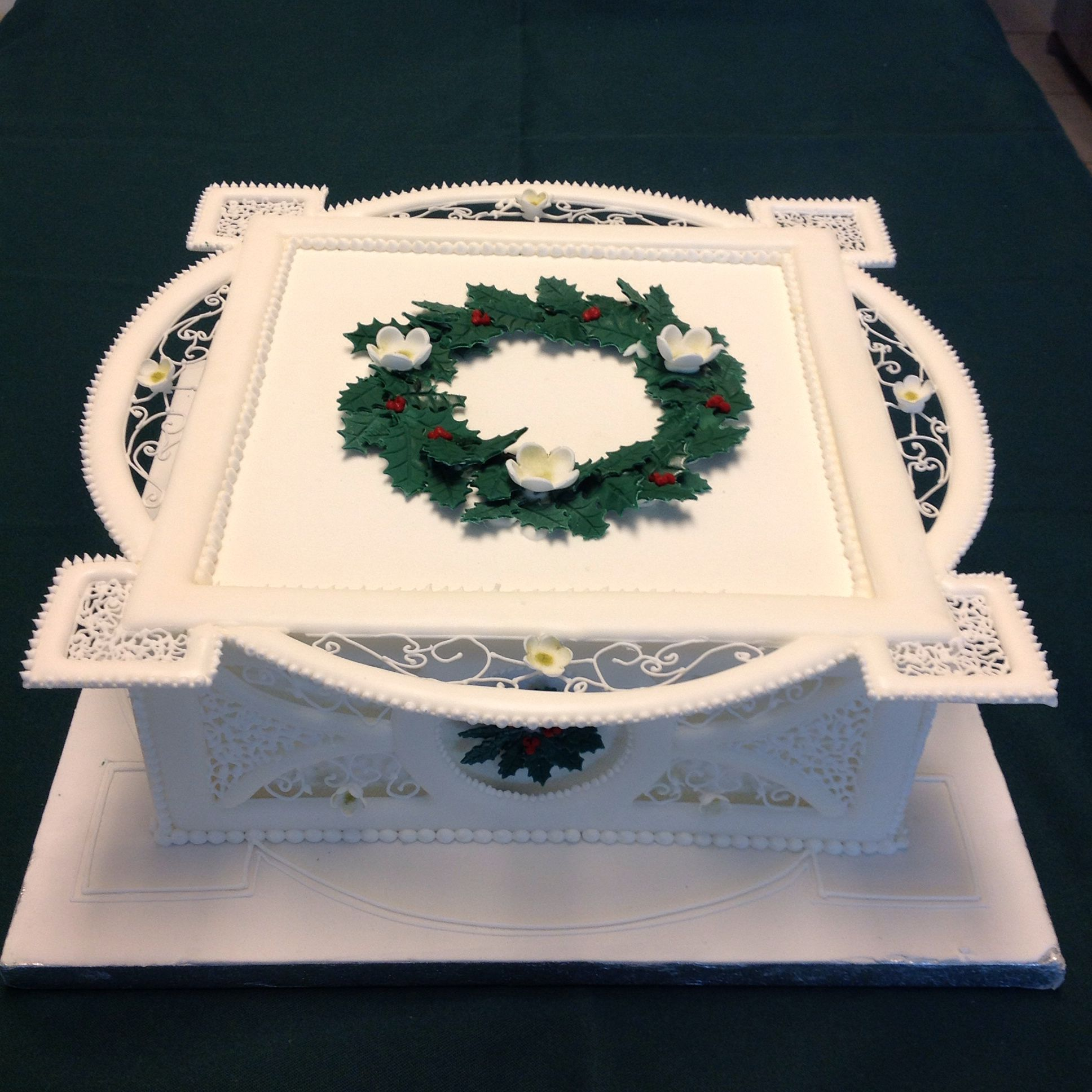 2015 Christmas cake. Lace collar and sides, royal icing ...