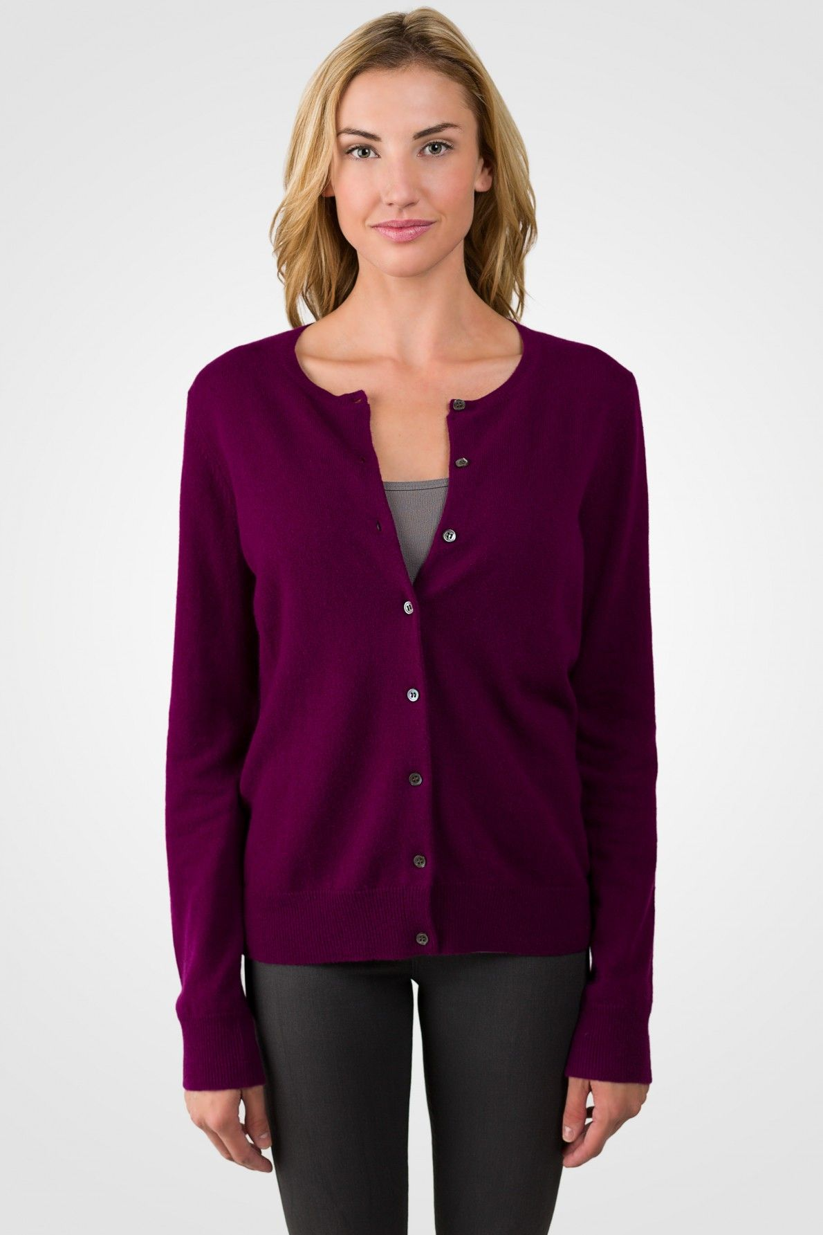Plum Cashmere Button Front Cardigan Sweater | Cashmere
