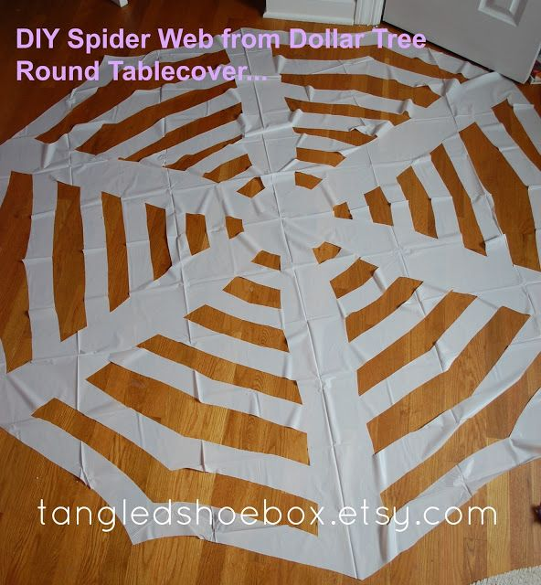 Tangled Shoe Box Diy Spider Web Dollar Tree Round Tablecloth