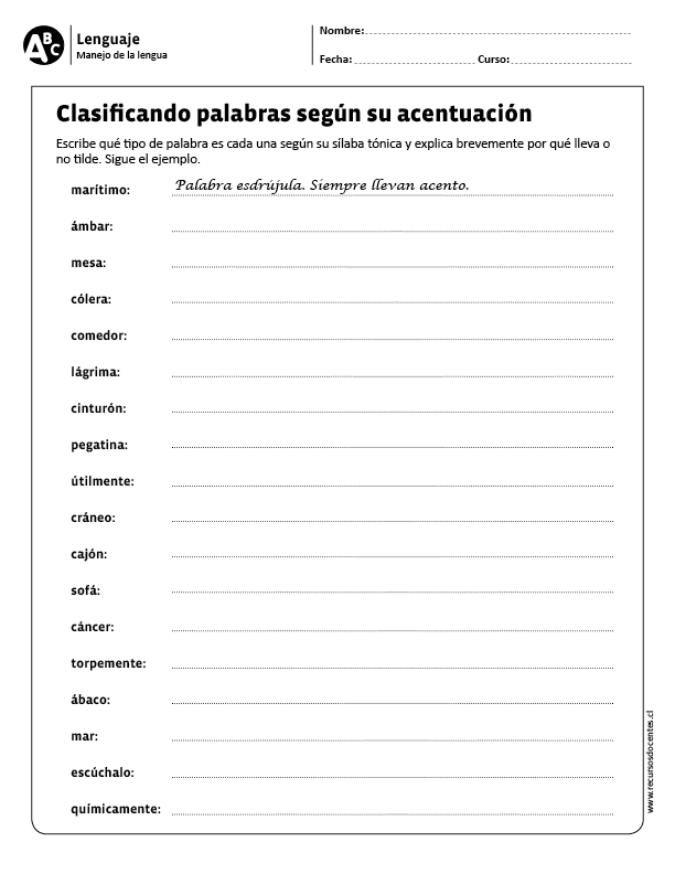 Clasificando Palabras Según Su Acentuación Clasificación De Palabras Reglas De Acentuación Apuntes De Lengua