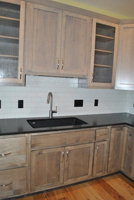 Custom two-tone gray cabinet stain.   C&M Properties and Construction. www.candmhomebuilders.com Eau Claire, Wisconsin