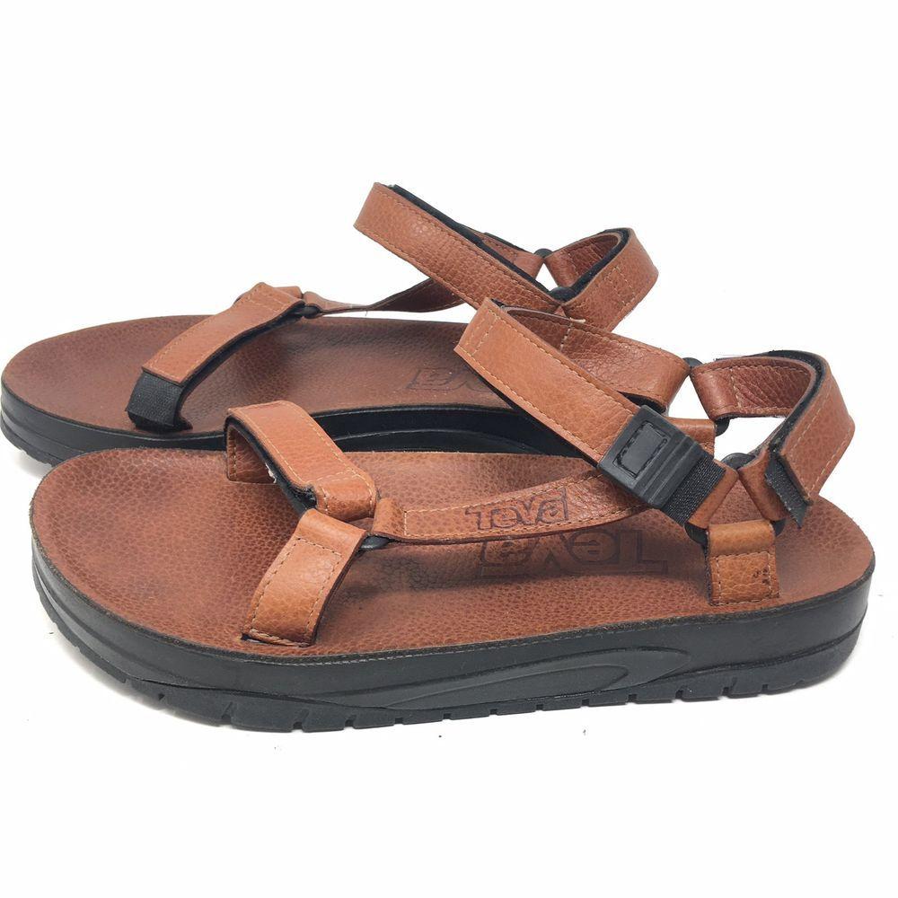 3970a2d72f03 Teva Mens Terra Fi 4 Leather Hiking Trekking Strap Sandals Light Brown Sz  11 M