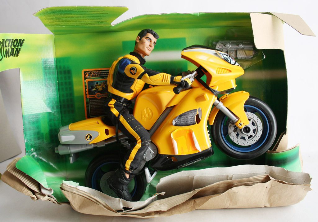very rare action man 2001 super speed bike moto ninja figure motorbike new action man hasbro. Black Bedroom Furniture Sets. Home Design Ideas