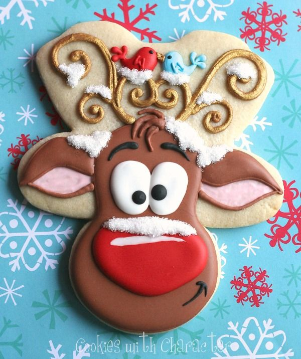 Reindeer Cookies With A Gingerbread Cutter Christmas Cookies Decorated Reindeer Cookies Cookie Decorating