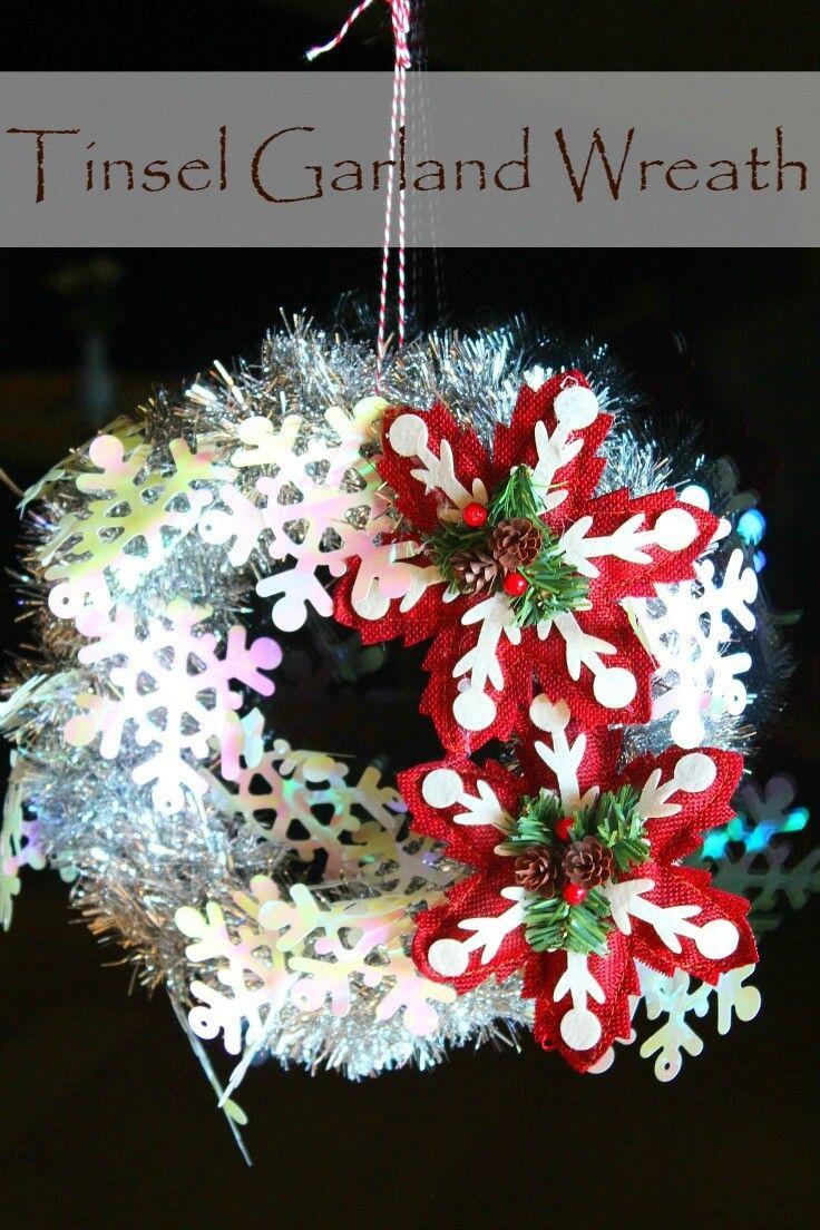 Tinsel Garland Wreath Wreaths/ Diy garland, Diy wreath