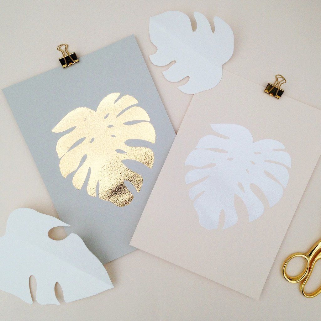 Gold foil cheese plant leaf a screenprint by hello marilou at red