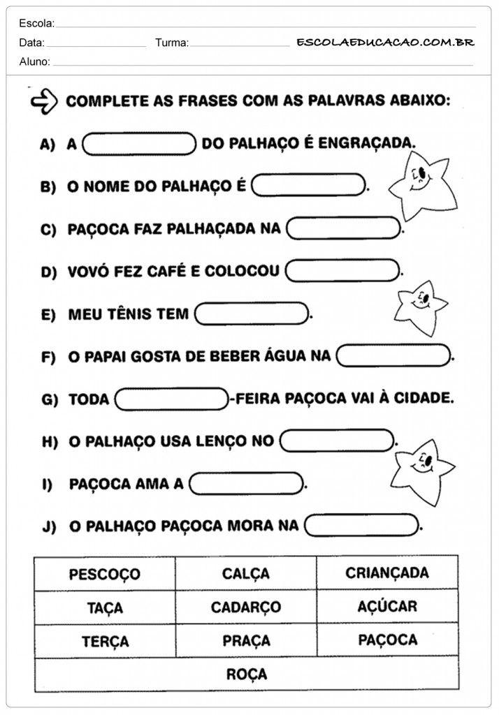 Atividades De Português 1º Ano Complete As Frases Ortografia