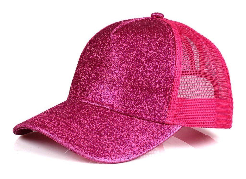Funky Junque s Women s C.C High Ponytail Messy Bun Glitter Trucker Baseball  Cap - Hot Pink 9f3bfc66b928