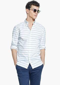 Slim-fit randig bomullsskjorta