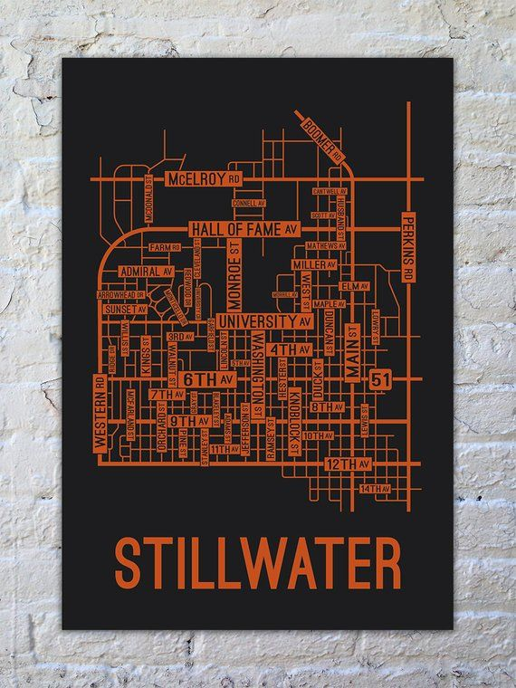 Stillwater Oklahoma Street Map Screen Print College Town Maps