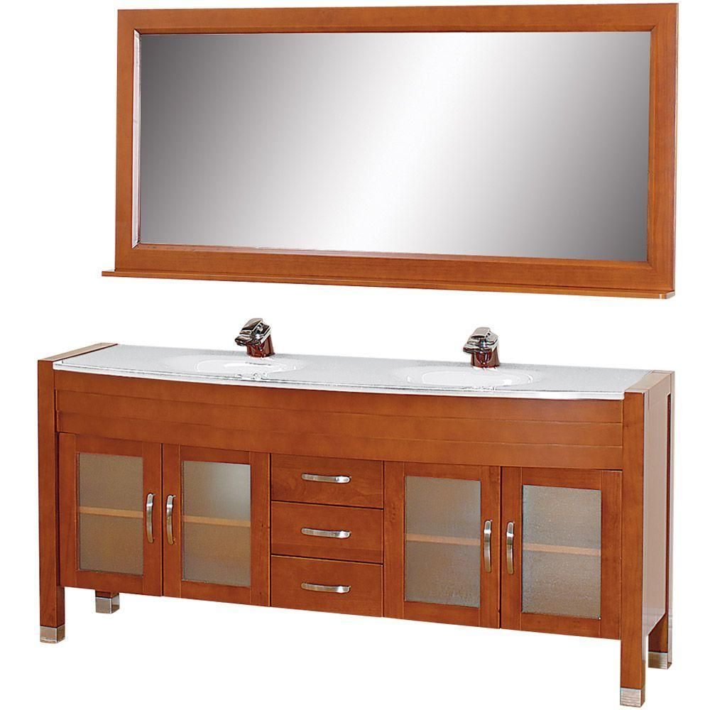 Wyndham Collection Daytona 71 In Vanity In Cherry With Double