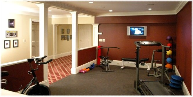 Open exercise room plan home basement at home gym