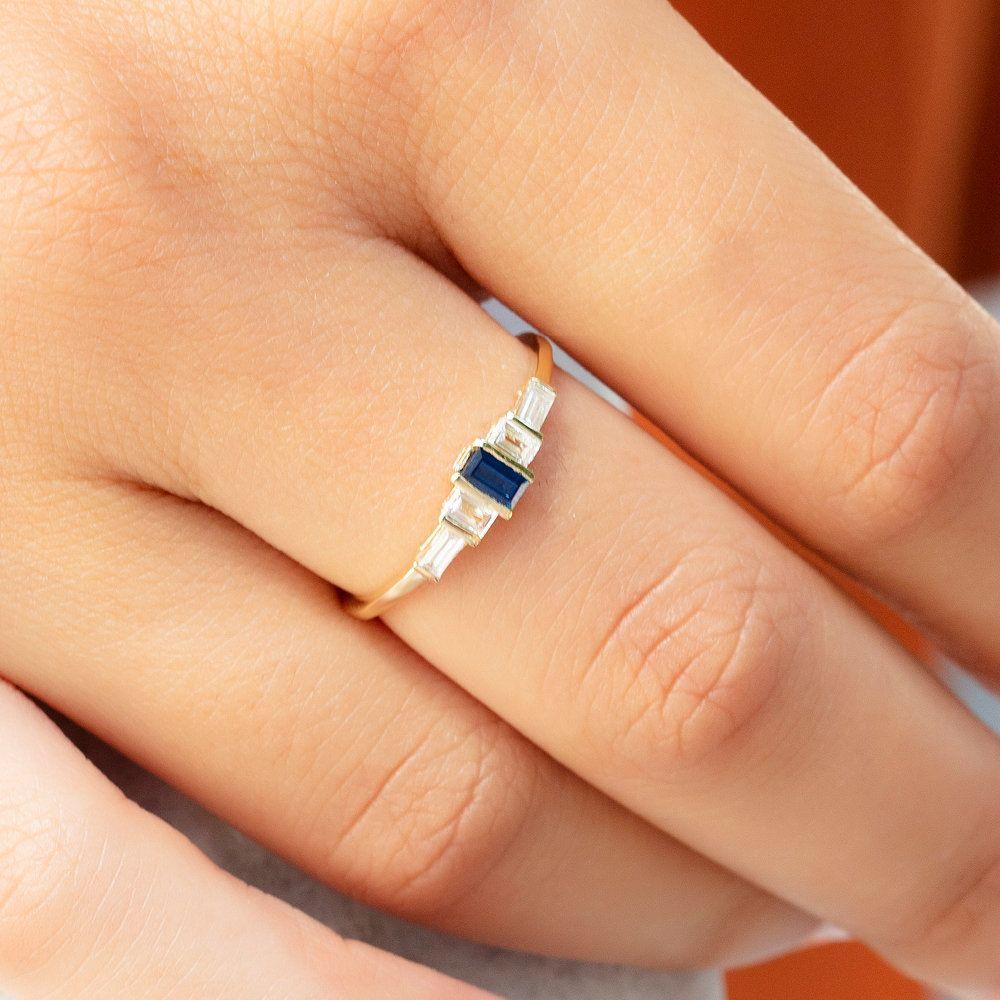 Baguette Diamond Stacking Ring  14k Gold Baguette Diamond Wedding Ring  Engagement Ring  Bridal Gift  Anniversary Gift  Diamond Ring