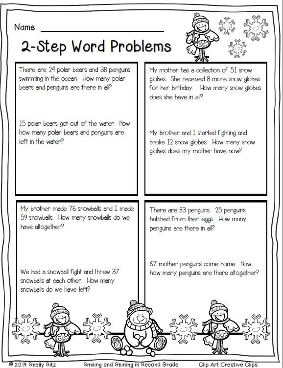 Winter Math Printables Math Word Problems Winter Math Math Printables