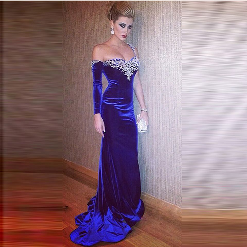 Abendkleid hollywood abendkleider : Abendkleider One SHoulder Crystal Vestido Renda Longo Royal Blue ...