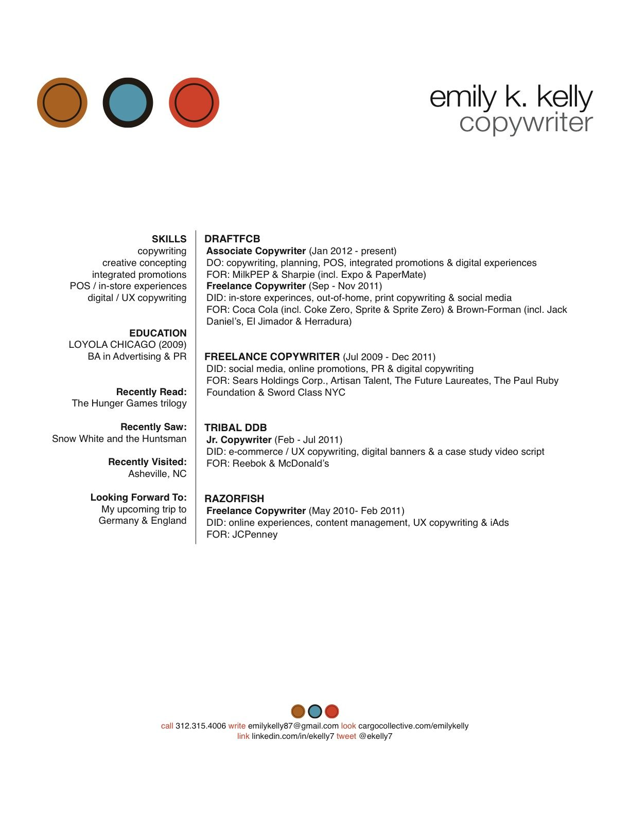 copywriting resume - Google Search | Further my education ...