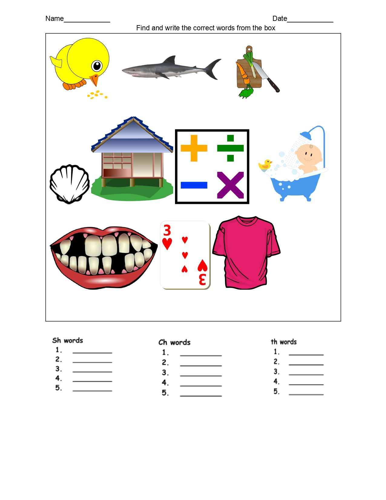 Kindergartens Diagraph Sorting Worksheet In