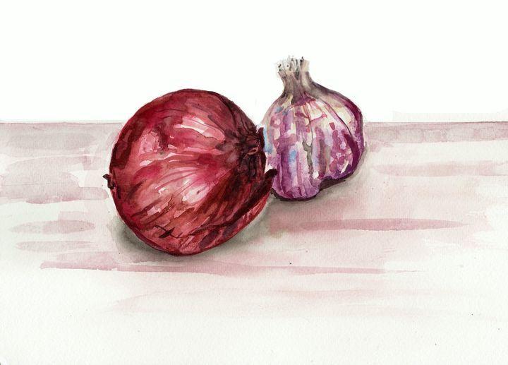 watercolor, vegetables,onion, garlic - voicivoilà (avec ...