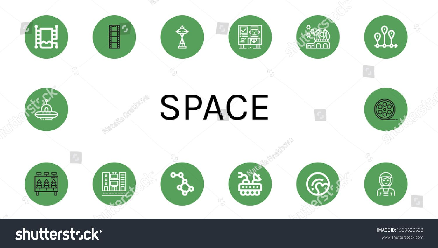space icon set. Collection of Heated towel rail, Film roll, Space needle, Billboard, Observatory, Timeline, Conste #Sponsored , #ad, #rail#towel#Film#Space
