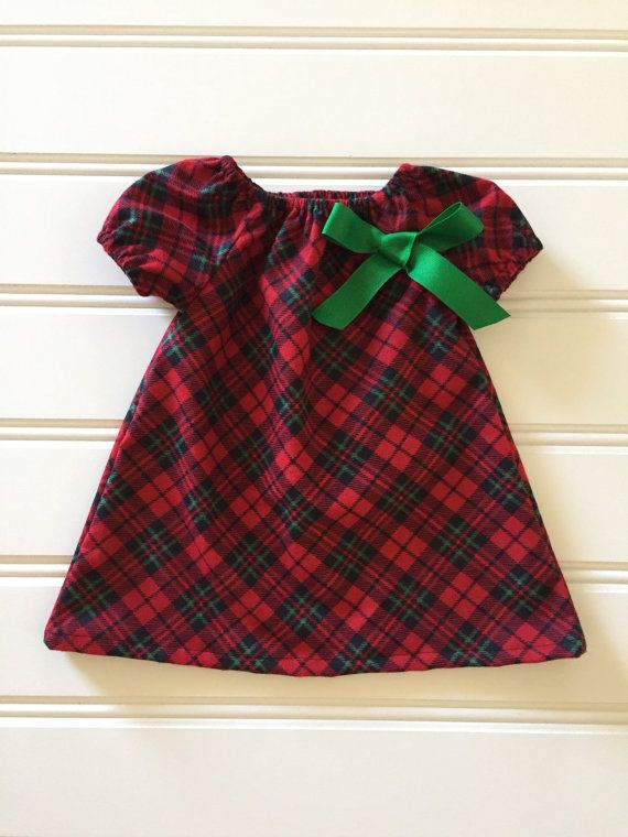 41dbdfb7b3b7 Green and Red Plaid Dress for Girl, Girl Winter Dress, Toddler ...