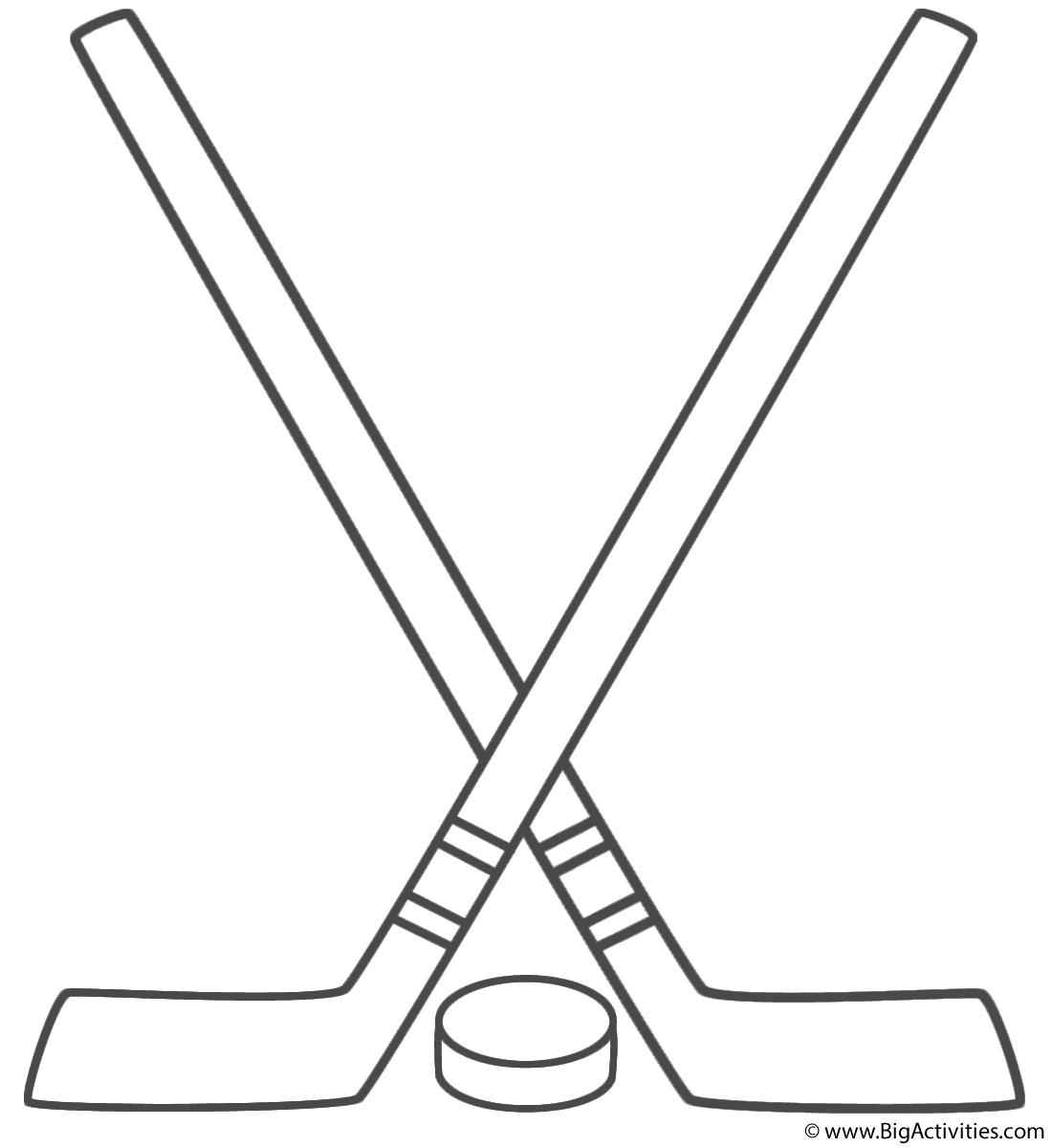 Coloring Page Hockey Stick Hockey Crafts Hockey Drawing