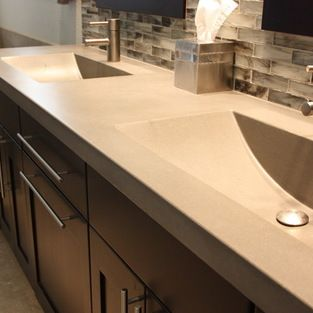 Amazing concrete countertop with integrated sinks | Home