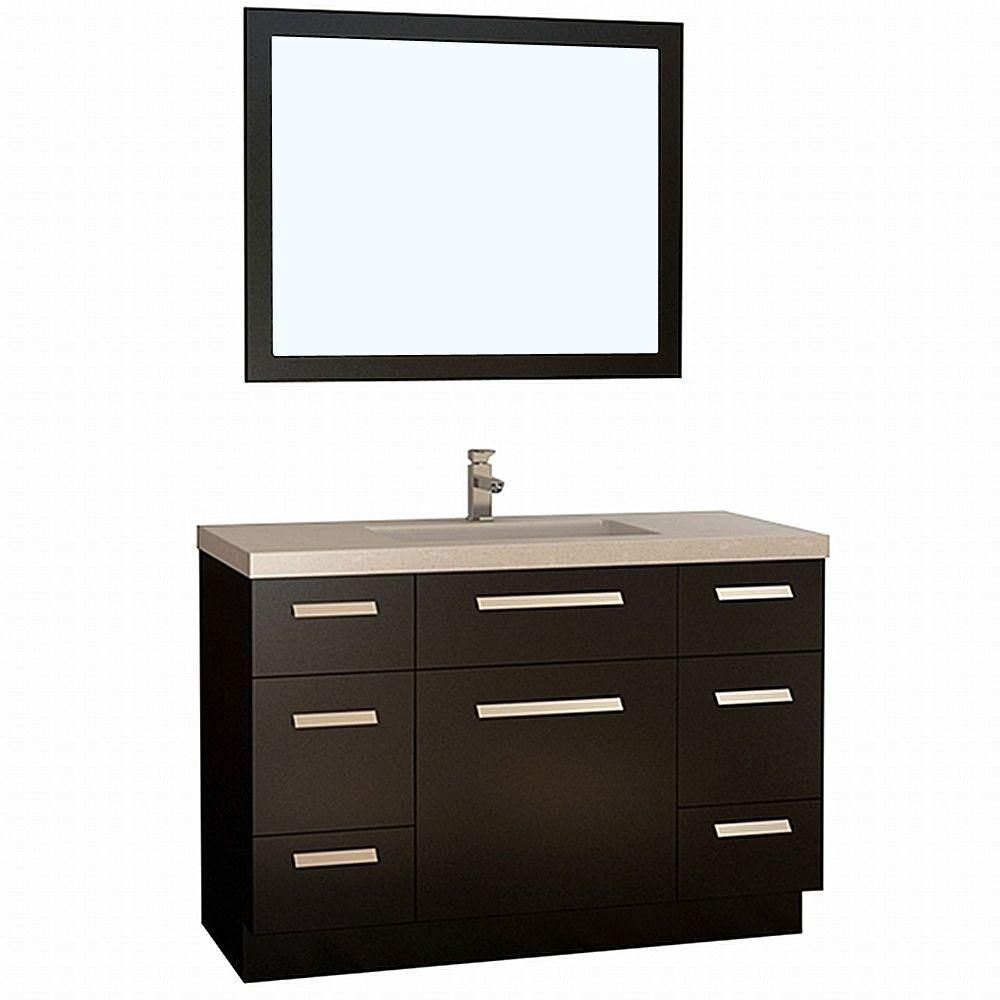 Design Element Moscony 48 in. W x 22 in. D Vanity in Espresso with Quartz Vanity Top and Mirror in White