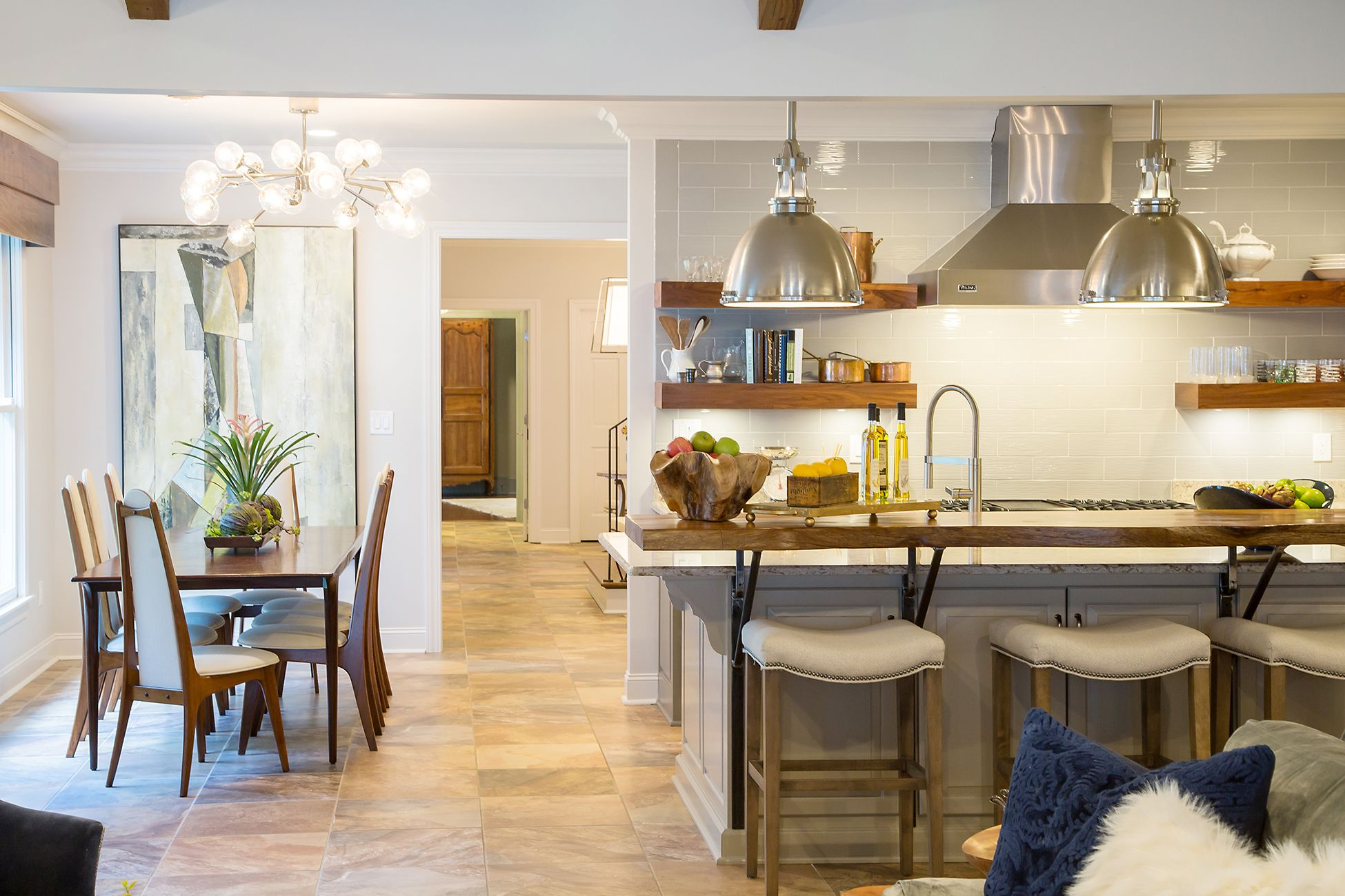 This open concept kitchen and living is a stunning design