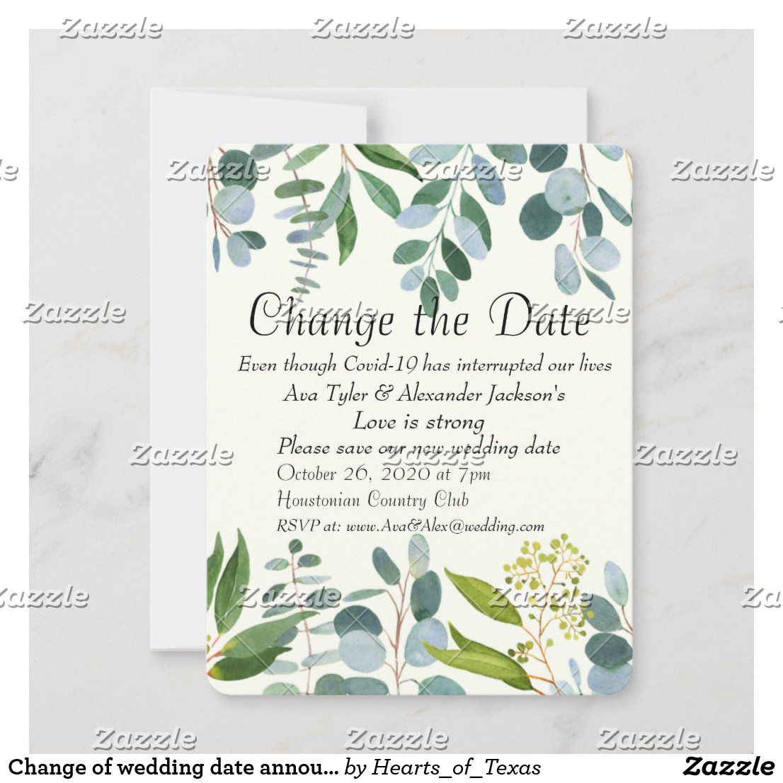 Change of wedding date announcement holiday