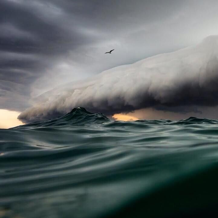 Photographer Jem Cresswell Swam M Out To Sea To Capture This - Beautiful photographs of storm clouds look like rolling ocean waves