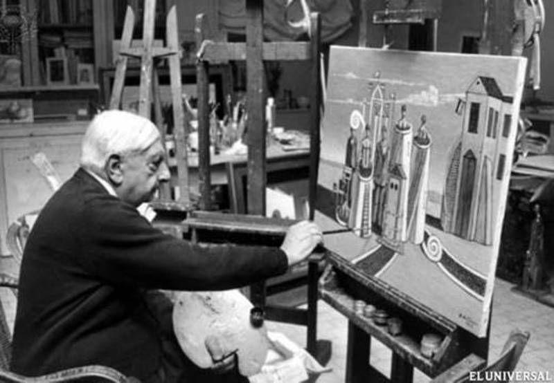 Giorgio de Chirico en su estudio.