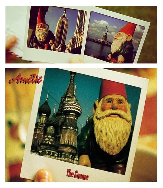 Bless Amelie - she sends her dad's gnome on holiday to help cheer him up with shots of him away on vacation, via her travel agent friend.