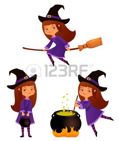 halloween brujas: Ilustraciones de dibujos animados lindo de una ...