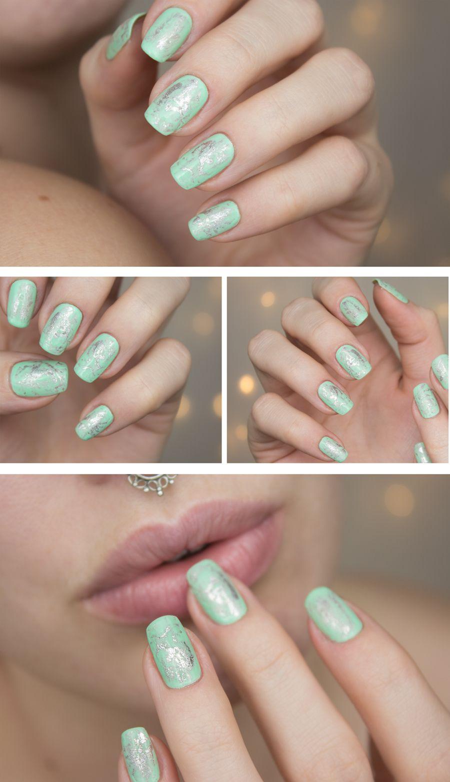 Silver-mint nail art