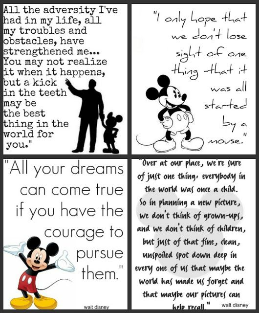 Tons of Disney quotes that would make great journal cards for a Project Life Style album.
