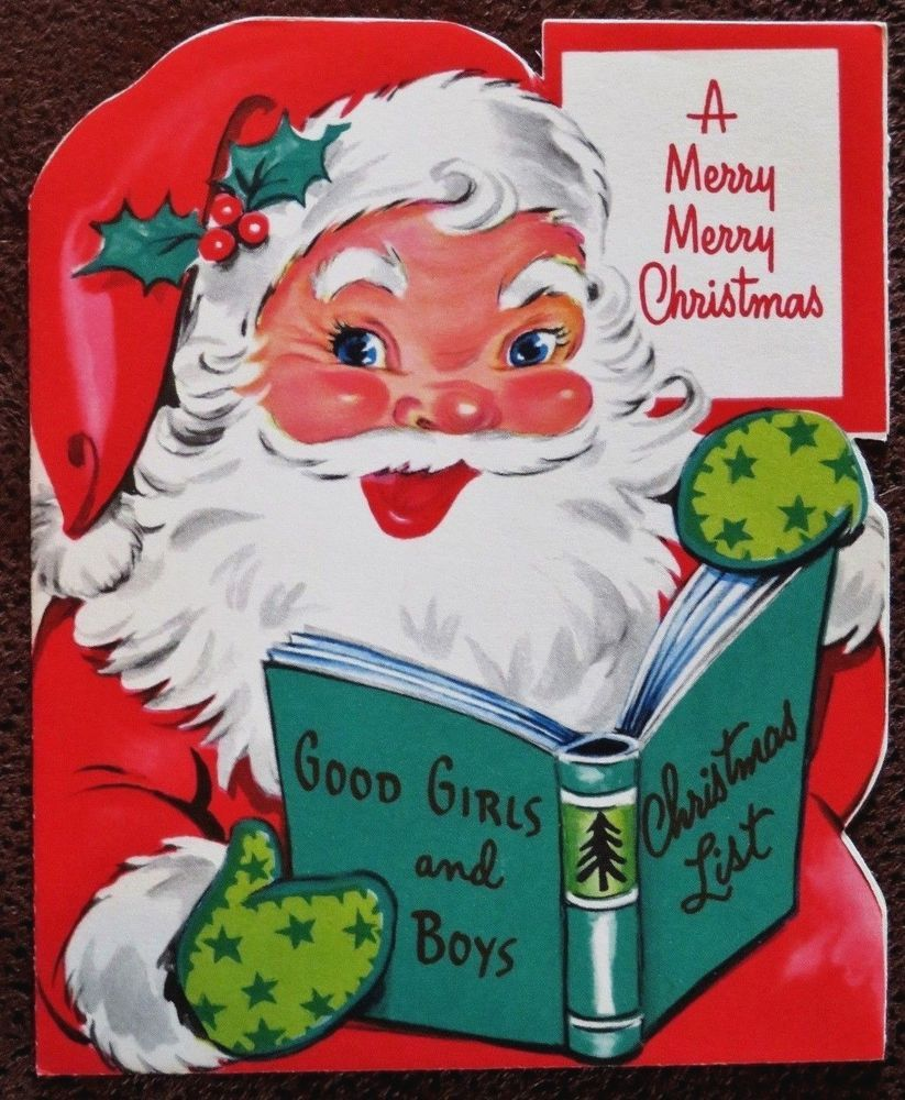 Details about Vintage Christmas Card UNUSED Santa Checking His Good ...