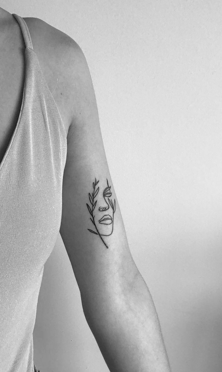 Photo of Tattoo of woman face from leaves of tattoo room Canggu #Tattoo #fac …