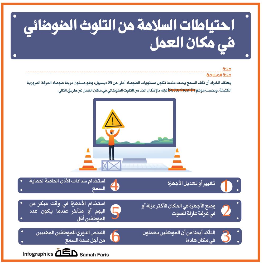 إنفوجرافيك احتياطات السلامة من التلوث الضوضائي في مكان العمل السلامة العمل التلوث صحيفة مكة جراف Asos Infographic Pandora Screenshot