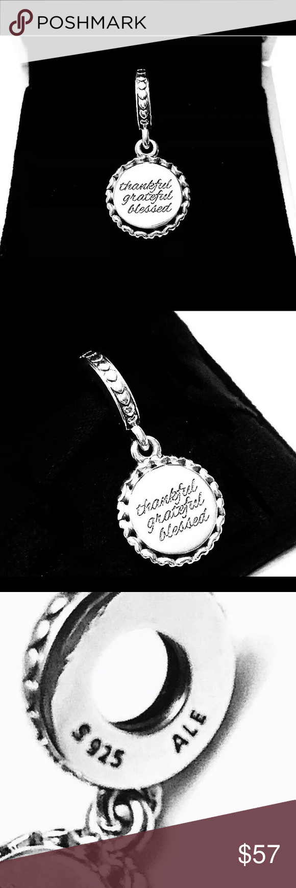 cdd10bf1cd14a Pandora Thankful Grateful Blessed Dangle Charm New. Comes With ...